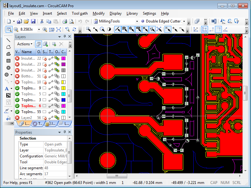 CircuitCAM with 4 tool insulate milling
